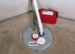A sump pump system with a battery backup system installed in Spanish Fork