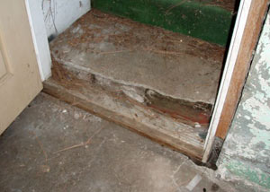 A flooded basement in Magna where water entered through the hatchway door