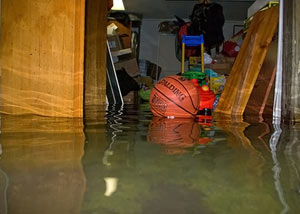 A flooded basement bedroom in Payson