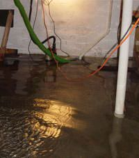 Several feet of floodwaters in a Price basement