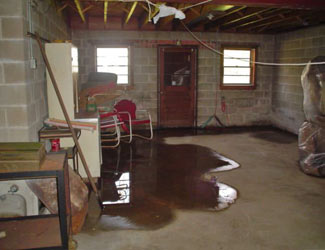 a flooded basement floor in a Vernal home