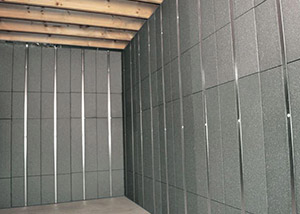 SilverGlo™ insulation and metal studs making up our Basement to Beautiful panels.  Installed in Orem.